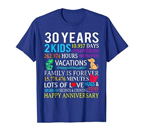 wedding 30 years 2 kids Anniversary Gift T Shirt (30 Year Wedding Anniversary Gift Ideas For Wife)