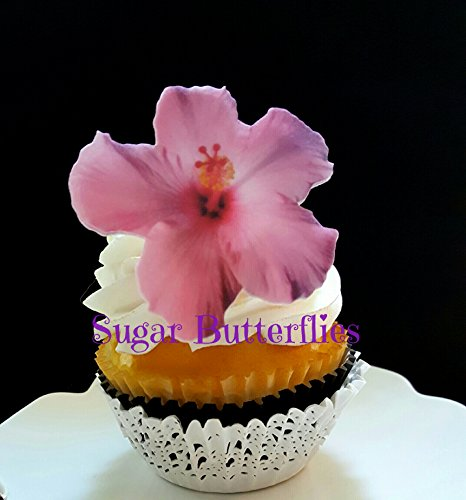 - Edible Wafer Pink Hibiscus Flowers Cake Decorations Cupcake Toppers Set of 12