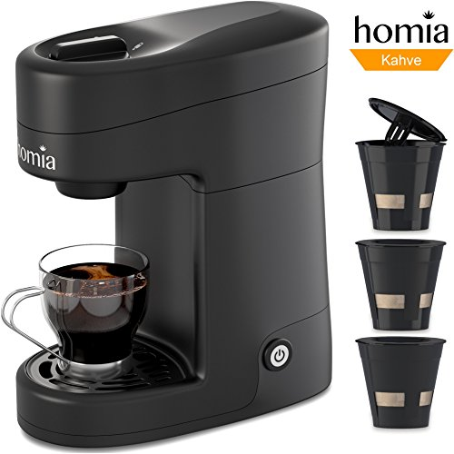 Coffee Maker Machine Electric Single Serve Brewer for Ground Coffee and K-cup Сompatible 12 oz (360 ml) 800W, 3.5 bar pump, with Reusable Capsules and Automatic Shut-Off, Plastic, Black