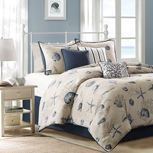 Seashells, Beach House, Nautical, Tropical, Queen Comforter, Shams, Toss Pillows (7 Piece Bed In A Bag) + HOMEMADE WAX MELT