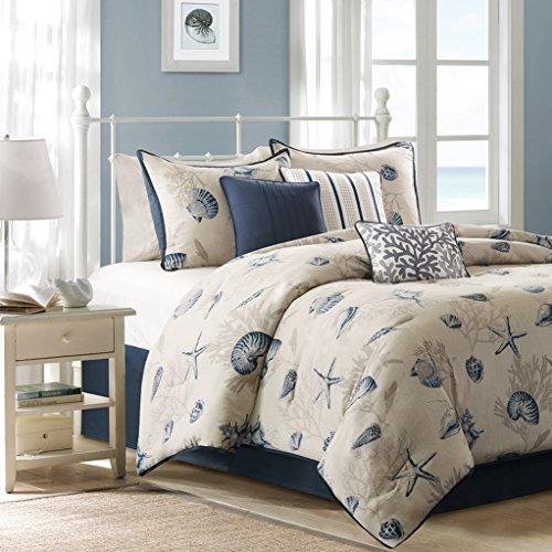 Bed King Island (Seashells, Beach House, Nautical, Tropical, California CAL King Comforter, Shams, Toss Pillows (7 Piece Bed In A Bag) + HOMEMADE WAX MELT)