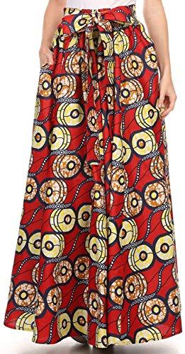 Sakkas SK16317 - Kelela Unique Designs Wax Print Adjustable Waist Long Tall Skirt - Red / Yellow - OS