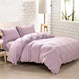 PURE ERA Duvet Cover Set Jersey Knit Cotton 1 Comforter Cover with Hidden Zipper Closure 2 Pillow Shams Ultra Soft Comfy Lavender White Stripe Queen Size