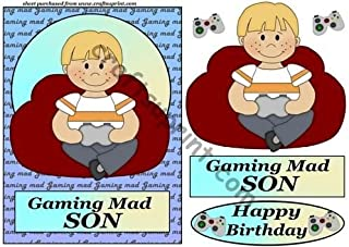 Gaming mad son birthday card front 1 by Sharon Poore