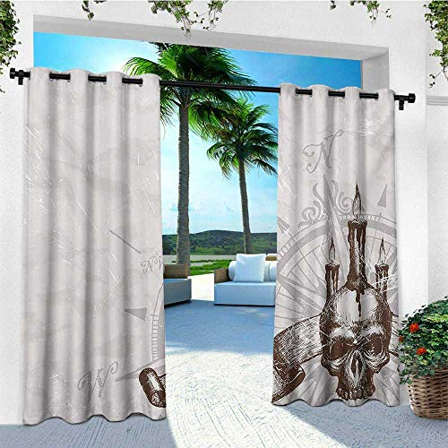leinuoyi Compass, Outdoor Curtain Panel Design, Compass with Skull and Candles Spooky Adventure New Pirate Destinations Theme, for Patio Waterproof W108 x L96 Inch Brown Pearl Grey