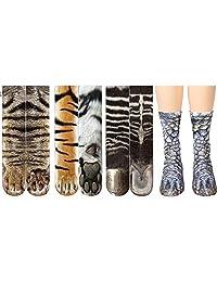 KOBWA Animal Feet Socks, Unisex Adult Cotton 3D Sublimated Print Novelty Funny Socks, Clear and Vivid Tiger/Pig / Zebra/Dinosaur / Leopard/Polar Bear/Cat Paw Socks for Men and Women, 35cm