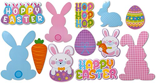 12 Pack - Easter Paper Decorations Cutouts Hoppy Easter, Bunny, Carrot, Eggs Decor