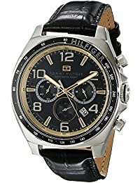Mens 1790936 Sport Luxury Chronograph and Black Leather Strap Watch