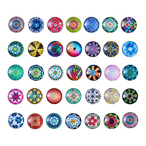 Pandahall 50pcs/Box Mosaic Printed Flat Back Glass Half Round/Dome Cabochons 25mm for DIY Jewelry Making