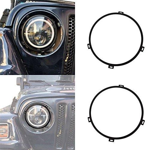 Headlight Ring Screws - opar 7 inch Round Headlight Mounting Bracket Rings in black for 1997-2006 Jeep Wrangler TJ