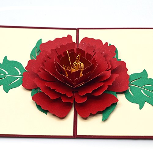 Mother's Day Pop Up Greeting Cards,Dreamlevel Handmade Red Peony 3D Thank You Mother's Day Cards for Friends,Mom,Girlfriend, Wife (Peony Flat Card)