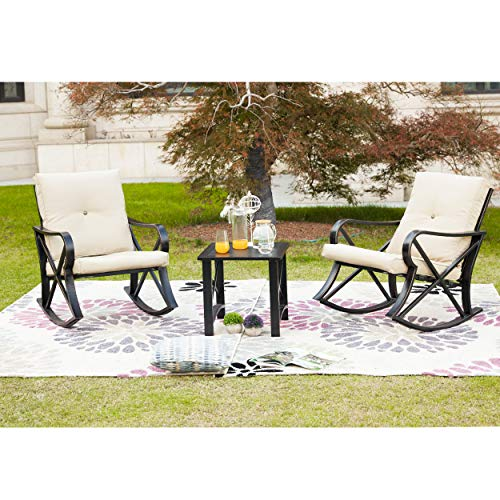 LOKATSE HOME 3-Piece Outdoor Patio Rocking Steel Furniture Bistro Set with 2 Rocker and 1 Metal Square Coffee Table(Khaki Thickened Cushion)