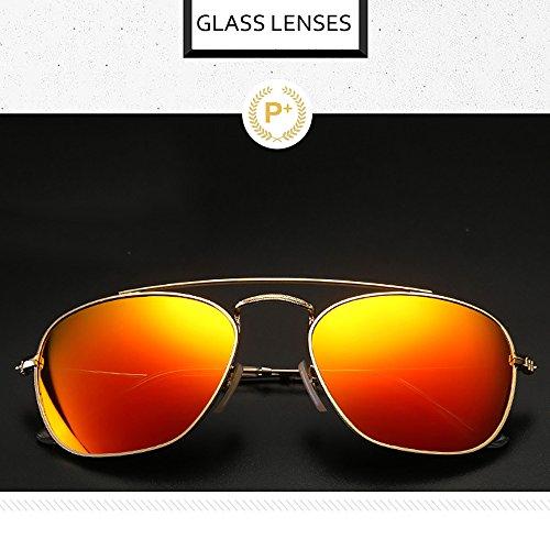 rectangulares100 Retro de los Gafas para cuadradas UV mano a Hombres hechas de diseñador de Aviador hombres sol protección metal sol del Amarillo Gafas qrnIr5R