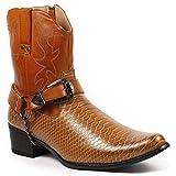 Metrocharm Diego-01 Men's Belt Buckle Chain Strap Western Cowboy Boots (13, Brown)