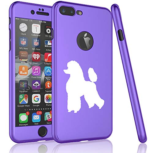 360° Full Body Thin Slim Hard Case Cover + Tempered Glass Screen Protector F0R Apple iPhone Poodle (Purple, F0R Apple iPhone 7 Plus / 8 Plus) ()