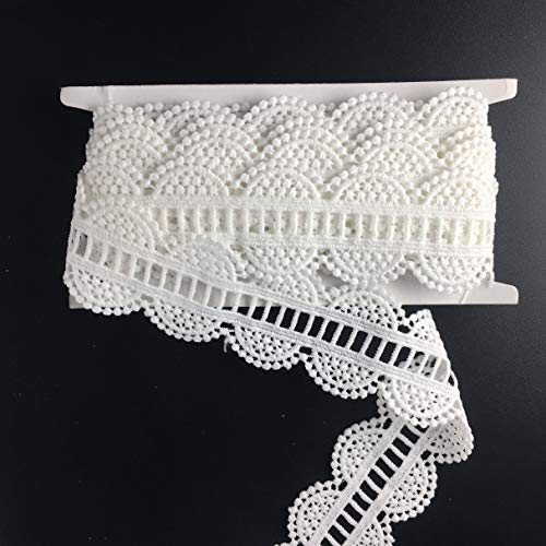 """Edge Double Scallop (Ella Mama Polyester Eyelet Lace Trim DIY Craft Ribbon Double Scallop Edge Embroidered Applique 1-1/2"""" x 5 Yards, for Home Decoration Wedding Decoration Gift Wrapping Ribbon DIY Sewing Craft (White))"""