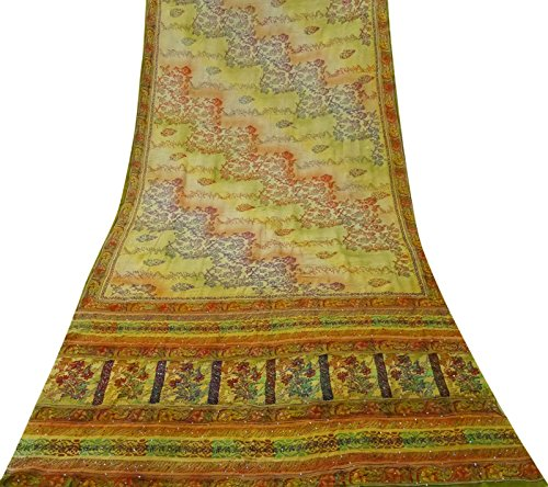 Vintage Crepe Silk Saree Kantha Stitch Embroidered Craft Green Sari Fabric Used