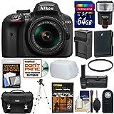 Nikon D3400 Digital SLR Camera & 18-55mm VR DX AF-P Zoom Lens (Black) with 64GB Card + Case + Flash + Battery + Charger + Grip + Tripod + UV Filter + DVD + Kit