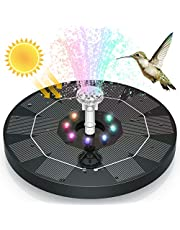 3.5W LED Solar Fountain 7.1in(18cm ) 3000mAh Built-in Battery Solar Water Pump Floating Fountain with 6 Nozzles for Bird Bath for Fish Tank, Pond or Garden Decoration Solar Water Fountain
