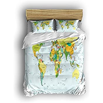 4pc world map reversible duvet cover set with 2 pillowcases for kid bedding twinsmall