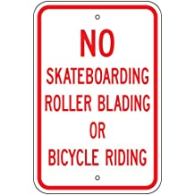 """GreenHouse Gh112617 Heavy Gauge Aluminum, Vertical, Pre-Punched, No Skateboarding, Rollerblading, Or Bicycle Riding Sign 12"""" Tall X 18"""" Wide"""