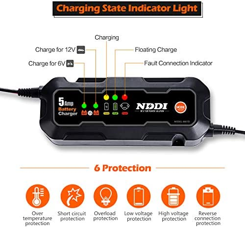 NDDI Automatic Battery Charger, 6V 12V 5000mA Quick Smart Trickle Battery Charger for Motorcycle Car Boat Lawn Mower(5A)