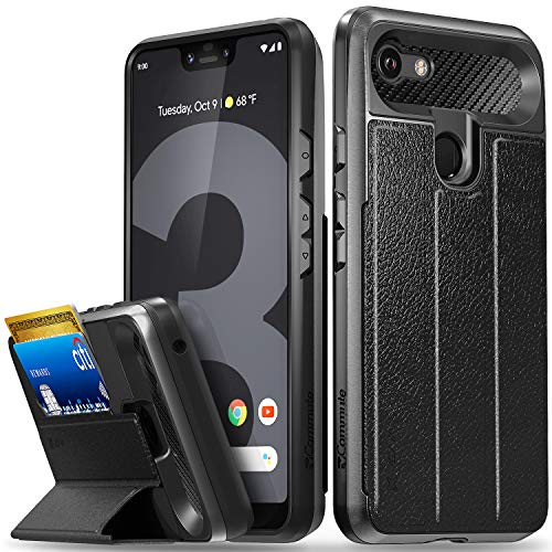 Vena Google Pixel 3 XL Wallet Case, [vCommute][Military Grade Drop Protection] Flip Leather Cover Card Slot Holder with Kickstand Compatible with Google Pixel 3 XL (Space Gray/Black)