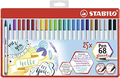 Premium Filzstift STABILO Pen 68 brush Colorparade 20er Tischset Fasermaler
