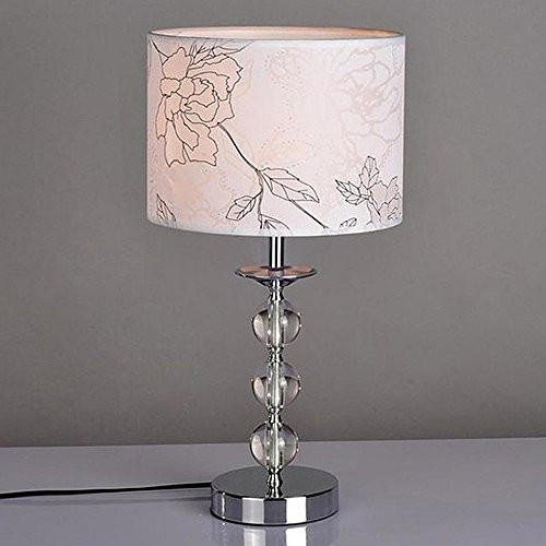 YANCEN Elegant Table Lamp Crystal Ball Metal Base Desk Lamp Light Fixture White Fabric Lamp Shade for Bedroom Study Room Office