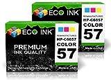 ECO INK © Compatible / Remanufactured for HP 57 C6657AN (2 Color) Ink Cartridges for HP Deskjet 450 5150 5151 5160 5168 5550 5551 5650 5655 5850 9600 9650 9670 9680, HP PhotoSmart 100 130 145 230 245 2405 2450 7150 7260 7345 7350 7445 7450 7459 7550 7655