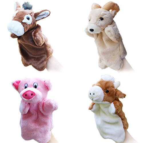 Merveilleux 4pcs Farm Animal Hand Puppets for Kids Plush Toys Interactive Toys Storytelling Game Props by Merveilleux