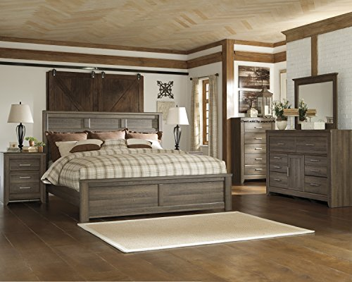 Juararoy Casual Dark Brown Color Replicated rough-sawn oak Bed Room Set, King Bed, Dresser, Mirror, Two Nightstands by FurnitureMaxx