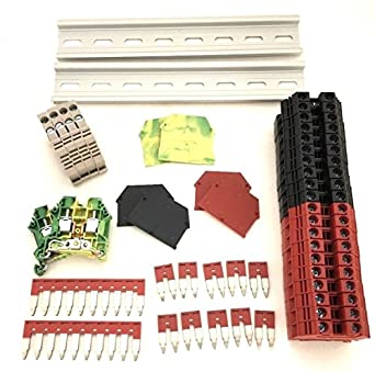 Red/Black DIN Rail Terminal Block Kit Dinkle 20 DK6N 8 AWG