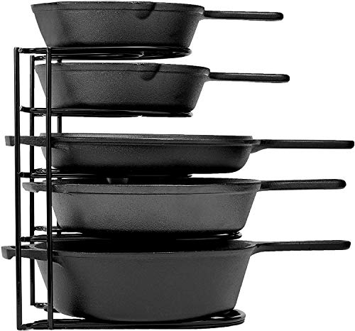 Heavy Duty Pan Organizer, 5 Tier Rack – Holds up to 50 LB – Holds Cast Iron Skillets, Griddles and Shallow Pots…