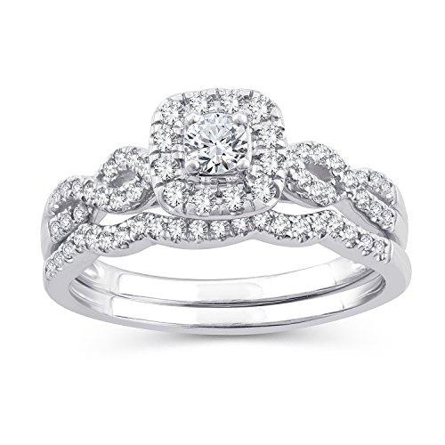 (0.50 Ct.Wt. Round Diamond Square Shape Halo Infinity Bridal Set 10K White Gold (IJ/I2-I3) (7))