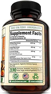 Turmeric Curcumin with Ginger and Bioperine. Vegan Joint Pain Relief, Anti-Inflammatory, Antioxidant, Anti-Aging Supplement with 10 milligrams of Black Pepper for Better Absorption. Natural Non-GMO