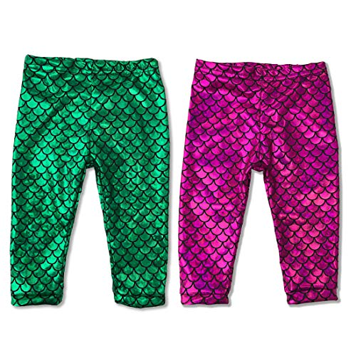 (Baby Mermaid Legging Pants Set (2 Pairs Set Green & Hot Pink, 9)