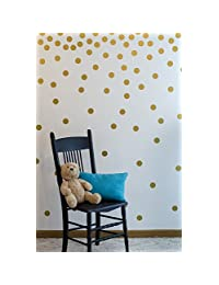 Gold Wall Decal Dots (200 Decals)   Easy to Peel Easy to Stick + Safe on Painted Walls   Removable Metallic Vinyl Polka Dot Decor   Round Sticker Large Paper Sheet Set for Nursery Room (Metallic Gold)