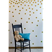 Gold Wall Decal Dots (200 Decals) | Easy to Peel Easy to Stick + Safe on Pain...