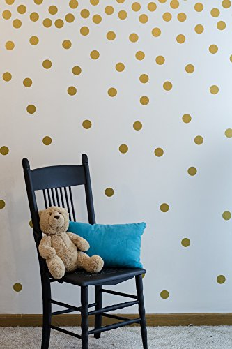 Gold Wall Decal Dots (200 Decals) | Easy to Peel Easy to Stick + Safe on Painted Walls | Removable Metallic Vinyl Polka Dot Decor | Round Sticker Large Paper (Metallic Wall)