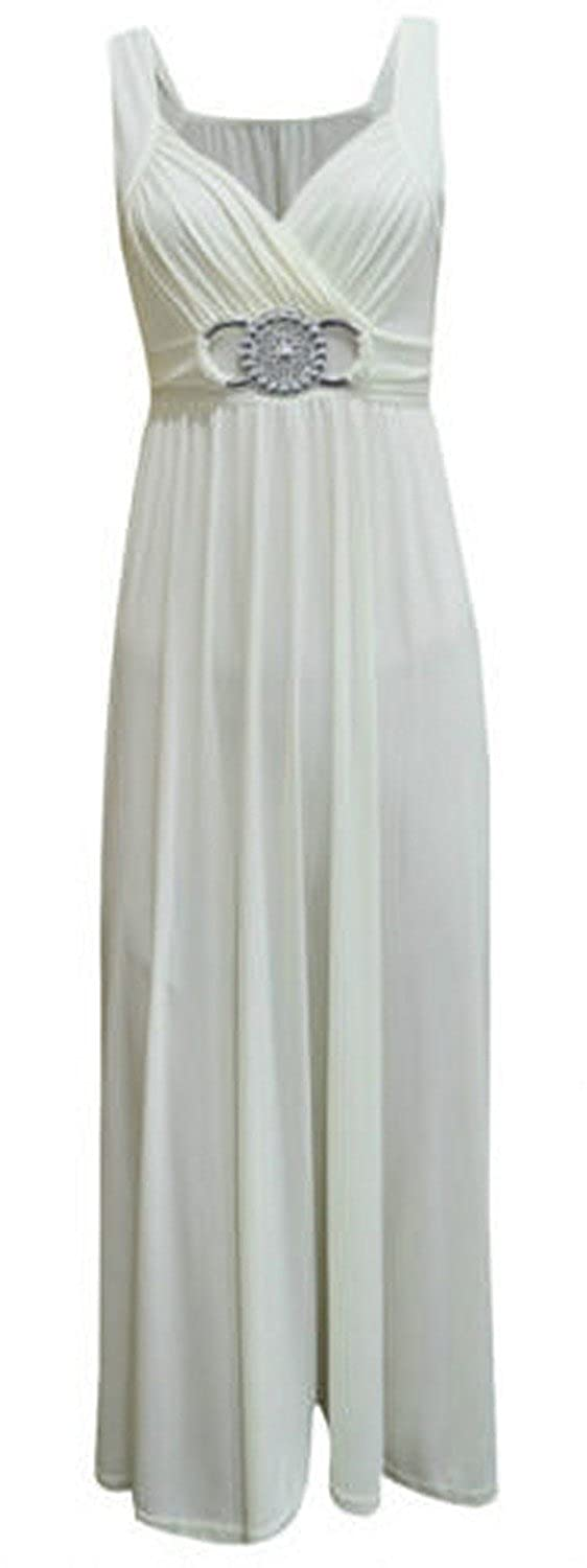 New Womens Plus Size Tie Back Long Evening Buckle Max 4-22 S, Cream