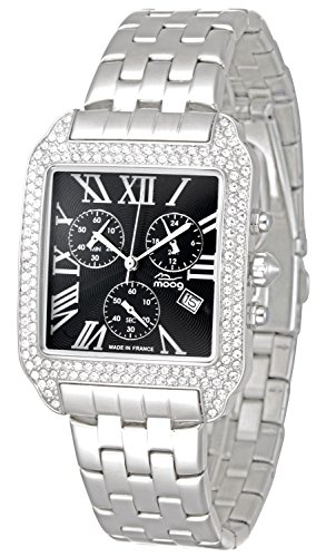 Moog Paris - Think Different - Women / Men Chronograph Watch with black dial, silver strap in stainless steel - - Made in France - M44274F-001