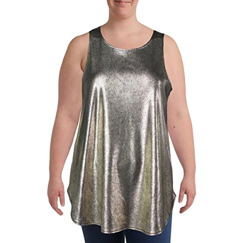 Metallic Spandex Tunic (Alfani Womens Metallic Snake Print Pullover Top Gold XL)