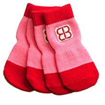 Petego Traction Control Indoor Socks for Dogs, Red/Pink, Large, Set of 4