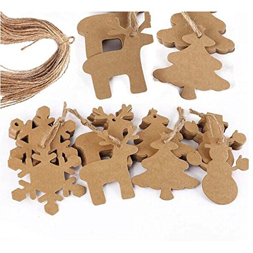 Fenical 100pcs Christmas Snowflake Pendants Christmas Ornaments Party Tree Decoration 20M (Diy Ornaments)