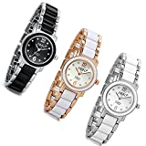 Lancardo Ladies Slim Silver Gold Tone Bling Rhinestone Crystal Accented Bracelet Watch(Pack Of 3)