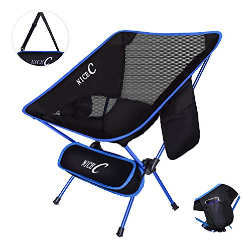 NiceC Ultralight Portable Folding Camping Backpacking Chair Compact & Heavy Duty Outdoor, Camping, BBQ, Beach, Travel, Picnic, Festival with 2 Storage Bags&Carry Bag (Blue)