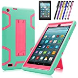 All-New Amazon Fire 7 Tablet Case, Cherrry Heavy Duty Shockproof Hybrid Full Body Protective Case Build in Kickstand for Amazon Fire 7(2017 Release) +Screen Protector Film + Stylus Pen (Green/Pink)
