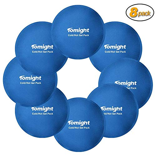 Tomight 8 Pack Reusable Gel Ice Packs with Cloth Backing, Perfect for Pain Relief, Wisdom Teeth, Breastfeeding, Tired Eyes, Swelling Injuries, Headaches and More