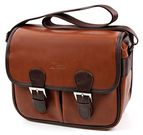 Brown PU Vintage Brown Leather Satchel Carry Bag for Avantree Mini Enceinte Bluetooth Sans fil - by DURAGADGET